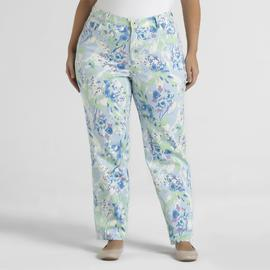 Gloria Vanderbilt Women's Plus Amanda Twill Pants - Floral at Sears.com