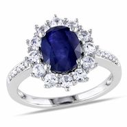 .05 CT Diamond And 3 3/4 CT Diffused Sapphire and Created White Sapphire Sterling Silver Ring (GH, I3) at Kmart.com