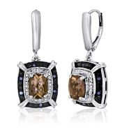 Sterling Silver 1/10 CTTW Blue Diamond & Smokey Topaz Earrings at Sears.com