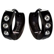 West Coast Jewelry Men's Stainless Steel Black Hinged Hoop with Clear Cubic Zirconias Earrings at Kmart.com