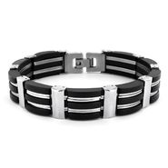 West Coast Jewelry Men's Stainless Steel Black Rubber Polished Bracelet at Kmart.com