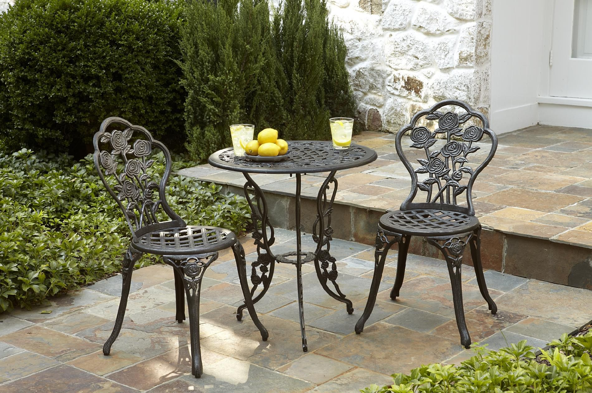 Cast Iron / Aluminum Bistro Set - Pewter