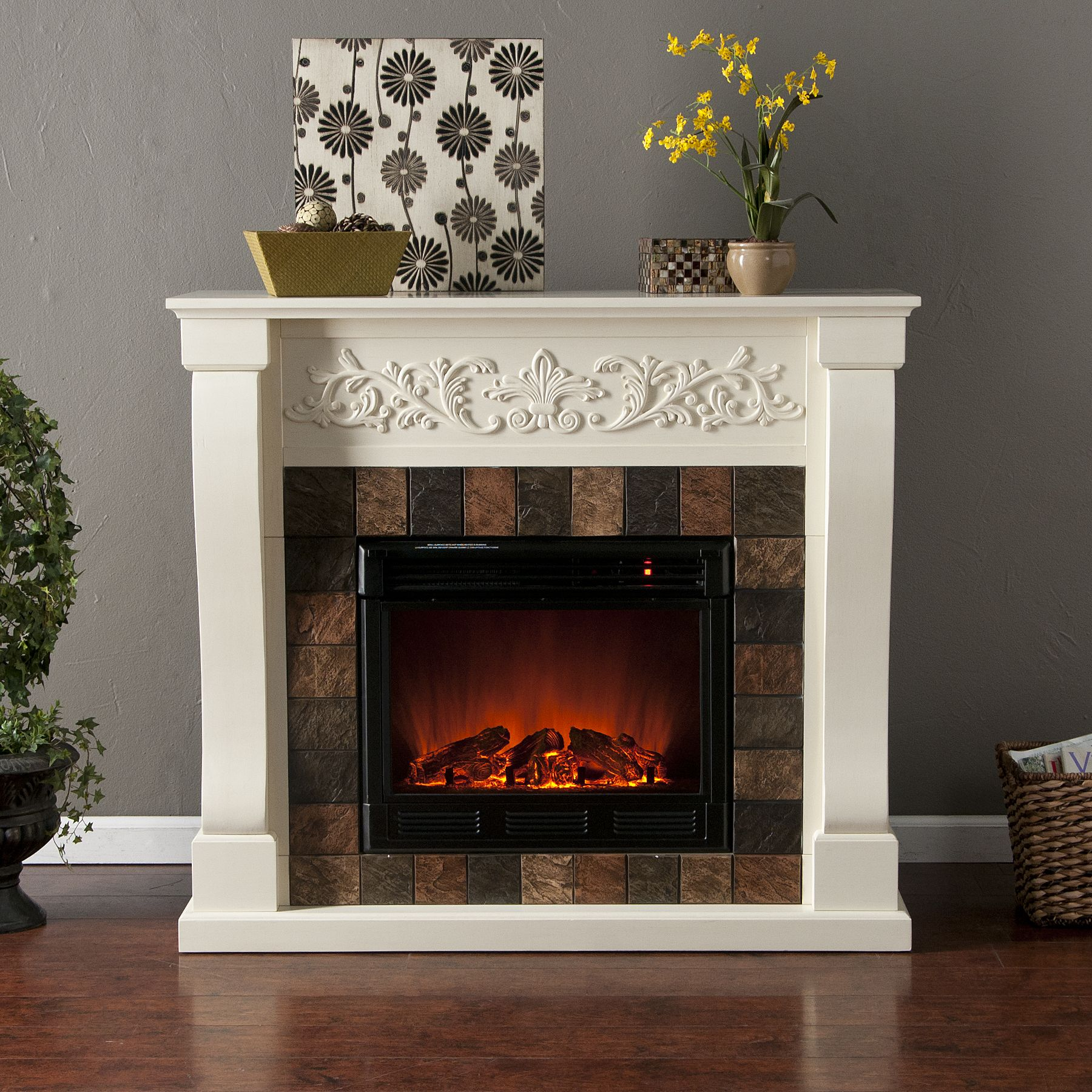 Buffalo Electric Fireplace-Ivory