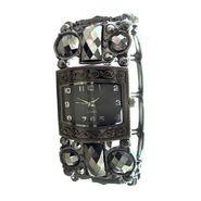 Ladies' Dark Gray Rectangular Dial and Hematite Decorated Stretch Bracelet Watch at Kmart.com