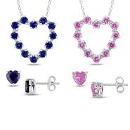 7 3/8 ctw. Diamond, Created Blue and Pink Sapphire Sterling Silver Pendant and Earrings, 3pc Set at Kmart.com