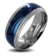 West Coast Jewelry Men's Two-tone Stainless Steel  Ridged Edge Wedding Band at Sears.com