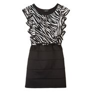 Amy's Closet Girl's Dress Zebra U-Neck Short Sleeves Black at Sears.com