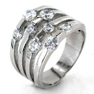 West Coast Jewelry Stainless Steel Cubic Zirconia Split Band Ring at Kmart.com