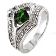 West Coast Jewelry Stainless Steel Claddagh Green Heart Cubic Zirconia Ring at Kmart.com