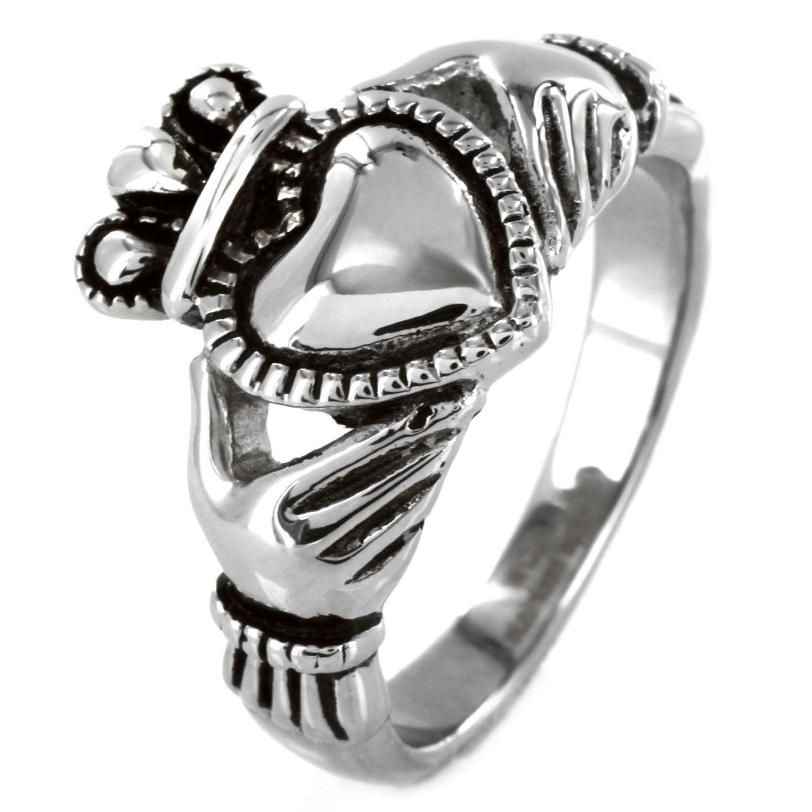 West Coast Jewelry Stainless Steel Black Outlined Irish Claddagh Ring PartNumber: 3ZZVA53692312P MfgPartNumber: WCJ-SS355