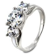 West Coast Jewelry Stainless Steel Three-Stone Cubic Zirconia Ring at Kmart.com