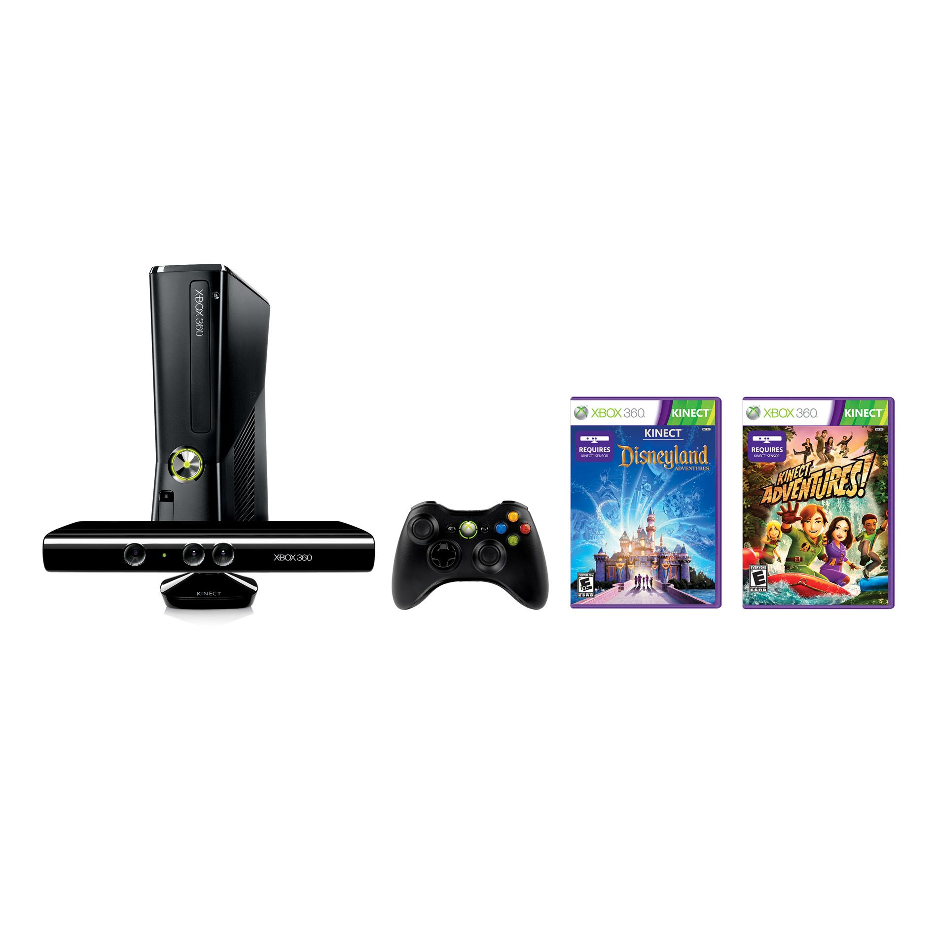 Microsoft Xbox 360S 4GB Kinect Holiday Console Bundle Black No hard drive