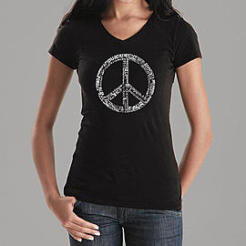 Los Angeles Pop Art Women's Word Art V-Neck T-Shirt - The Word Peace in 77 Languages Online Exclusive at Kmart.com