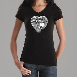 Los Angeles Pop Art Women's Word Art V-Neck T-Shirt - The Word Love in 44 Languages Online Exclusive at Kmart.com