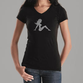 Los Angeles Pop Art Women's Word Art V-Neck T-Shirt - Mudflap Girl Online Exclusive at Kmart.com