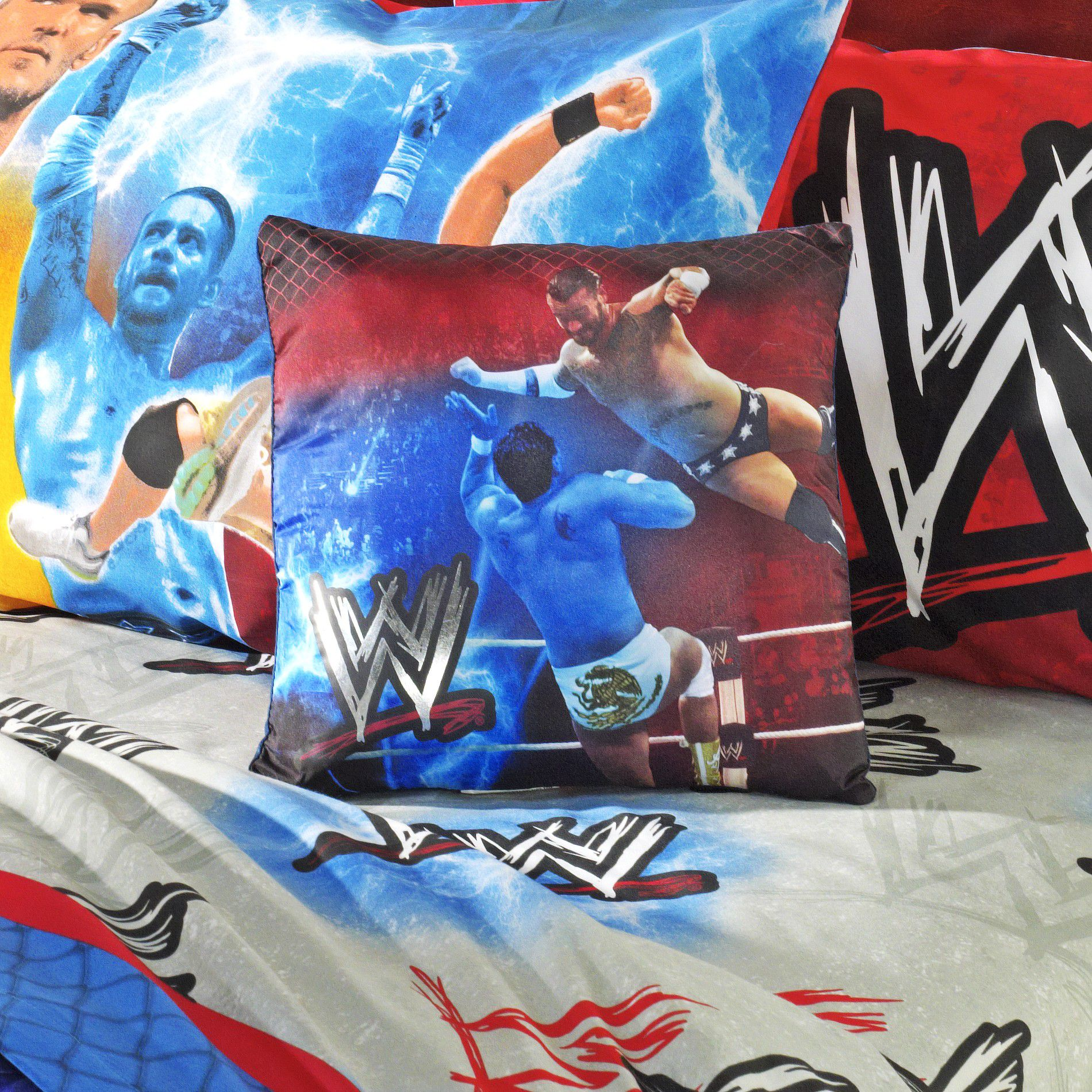 WWE Bedding Graphic Throw Pillow - Powerful Pounce