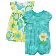 Carter's Newborn & Infant Girl's Set Printed Romper & Dress 2 Piece – Turquoise & Multi at Sears.com