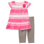 Carter's Newborn & Infant Girl's Striped Top & Heathered Capris Set 2 Piece – Pink/Gray at Sears.com