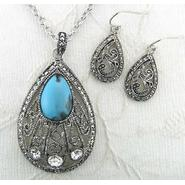Covington Necklace & Earrings Set Pendant Turquoise Silvertone – 3-Piece at Sears.com