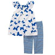 Carter's Newborn & Infant Girl's Butterfly Top & Striped Capris Set 2 Piece – Blue/White at Sears.com