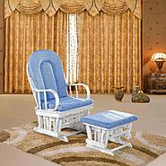 Dream on Me Colonial Glider with Matching Ottoman with White Glider/ Light blue Cushion at Sears.com