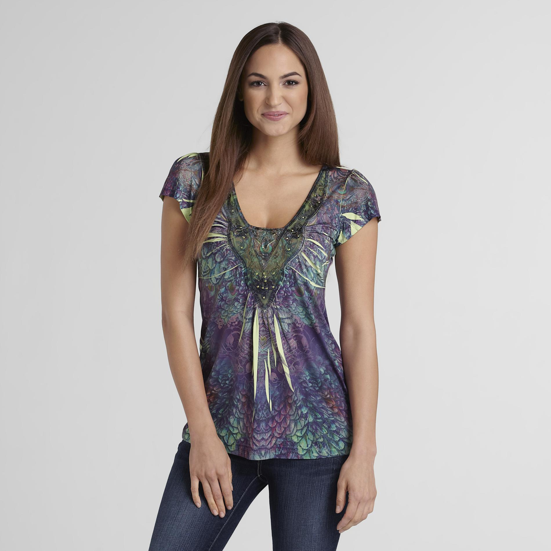 Covington Women's Lace-Neck Top - Sublimation at Sears.com