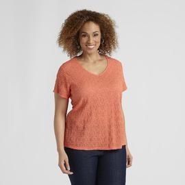 Jaclyn Smith Women's Plus Crinkle T-Shirt at Kmart.com