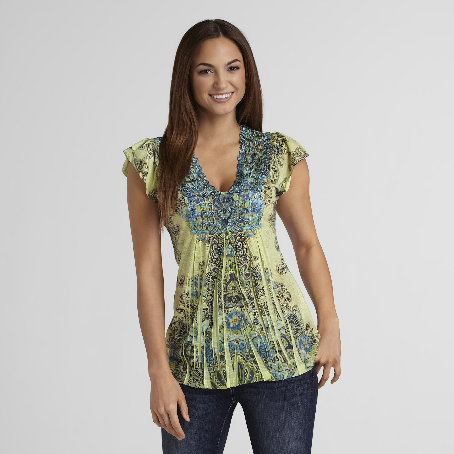 Women's Lace-Neck Top - Sublimation at Sears.com
