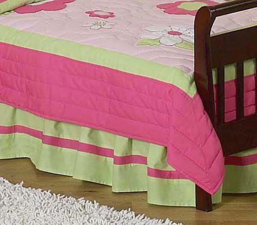 Sweet Jojo Designs Flower Pink and Green Collection Toddler Bed Skirt PartNumber: 04921194000P KsnValue: 4803181 MfgPartNumber: Skt-Flr-PK-GR