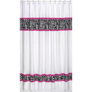 Sweet Jojo Designs Zebra Pink Collection Shower Curtain