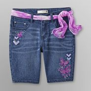 Route 66 Girl's Belted Bermuda Jean Shorts - Butterflies at Kmart.com