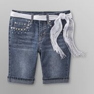 Route 66 Girl's Belted Bermuda Jean Shorts - Dark Wash at Kmart.com