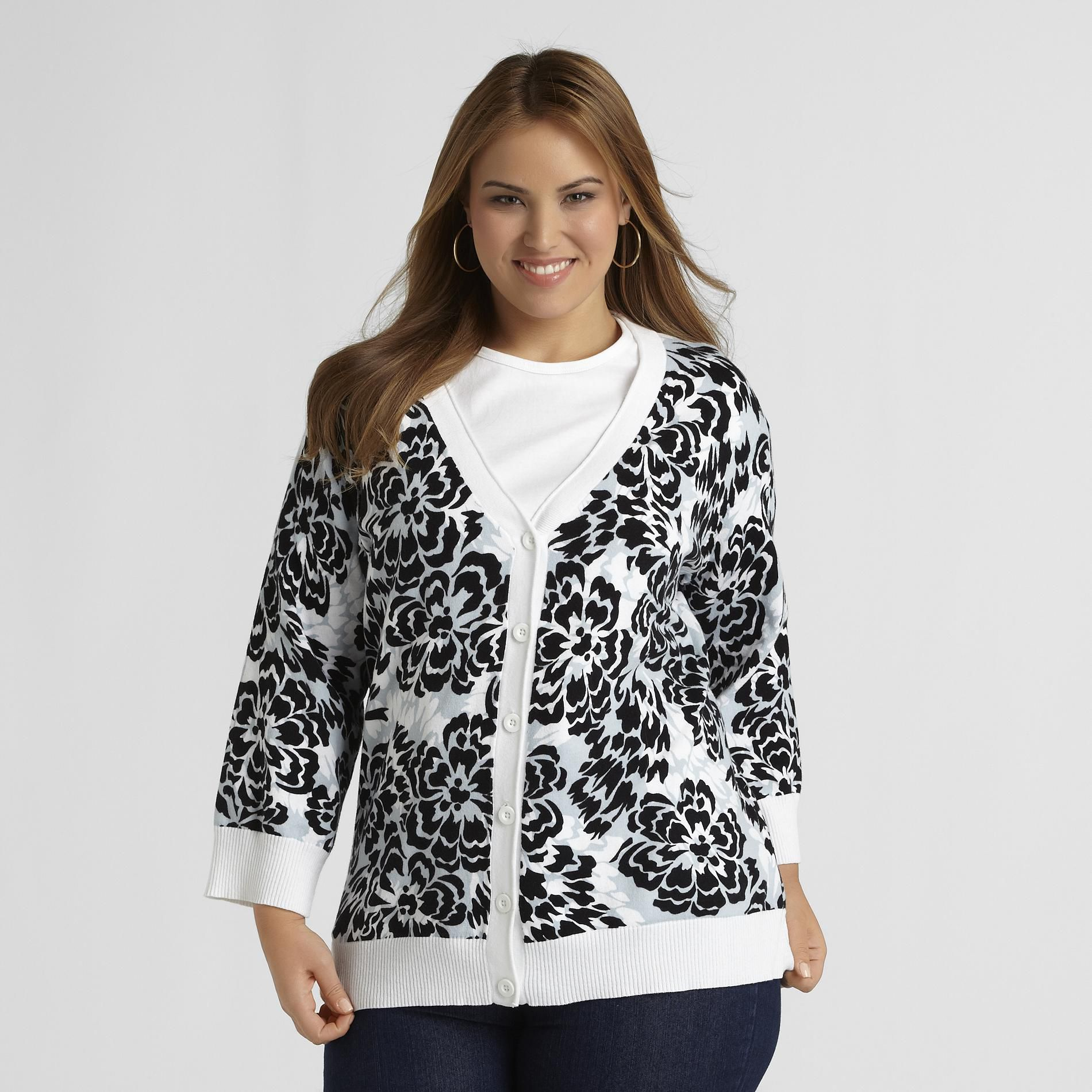Basic Editions Women's Plus Cardigan Sweater - Floral at Kmart.com