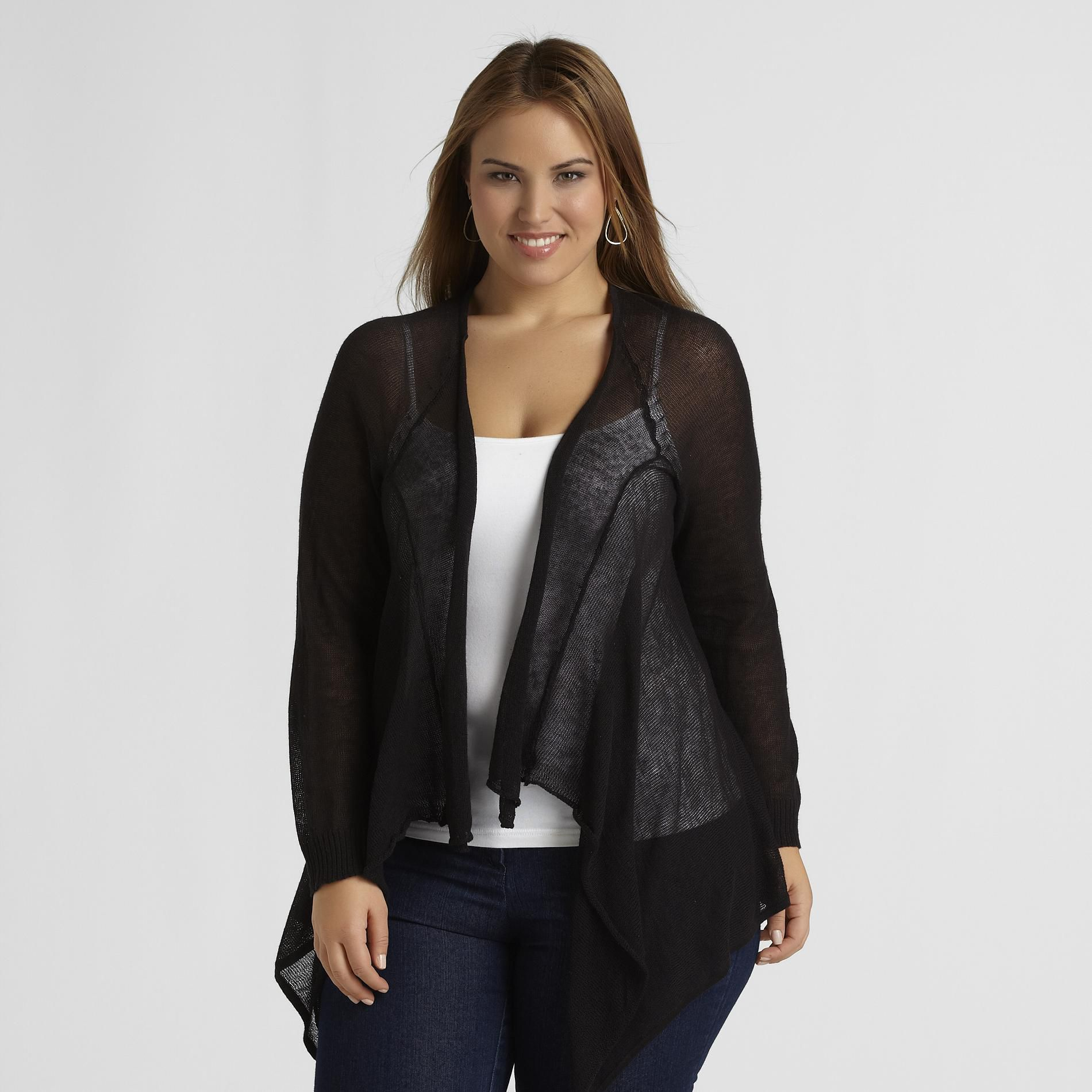 Love Your Style, Love Your Size Women's Plus Cascade Front Cardigan at Kmart.com