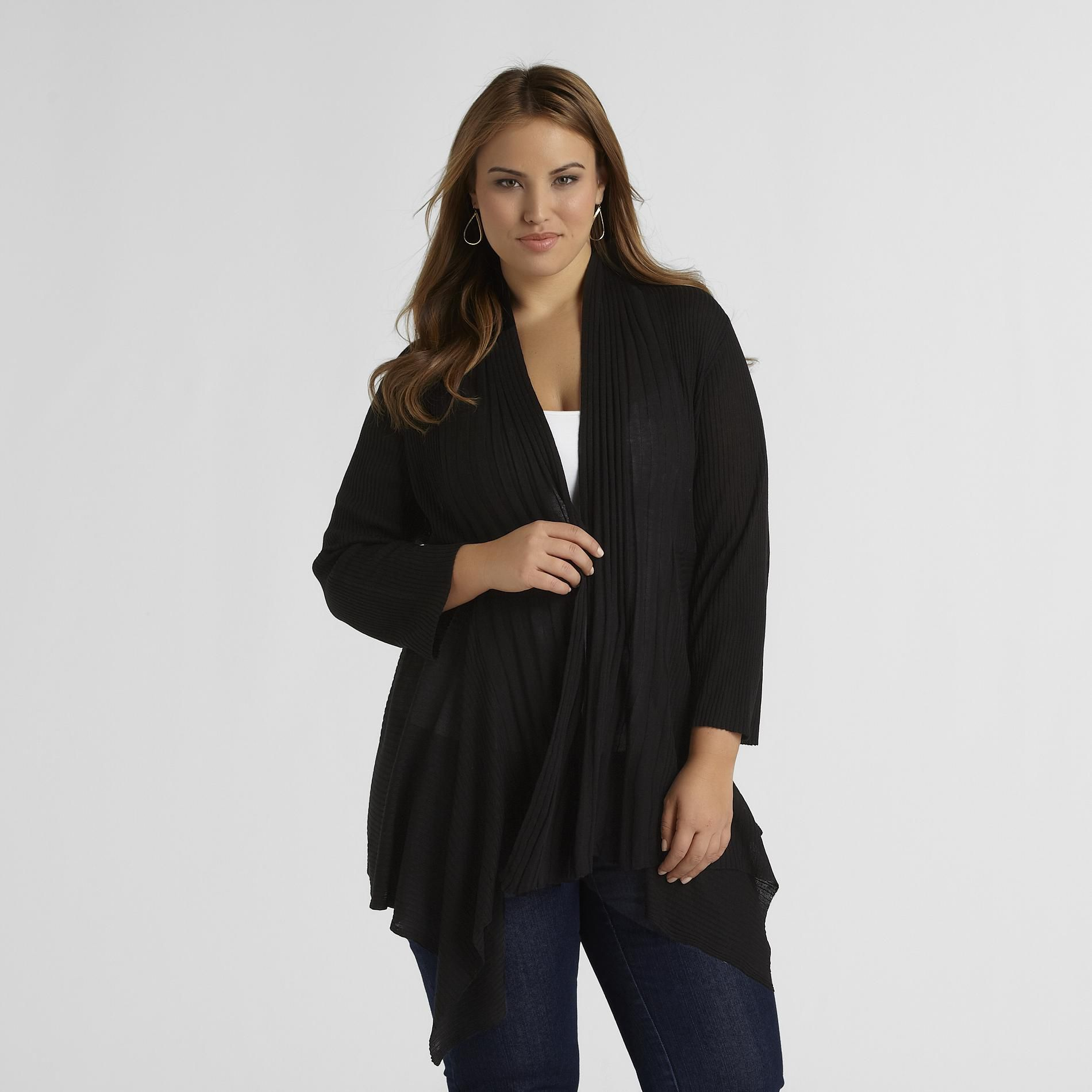 Jaclyn Smith Women's Plus Open-Front Cardigan at Kmart.com