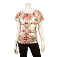 Byline Junior's Top Floral Pattern Ruched Side Short Sleeve at Sears.com