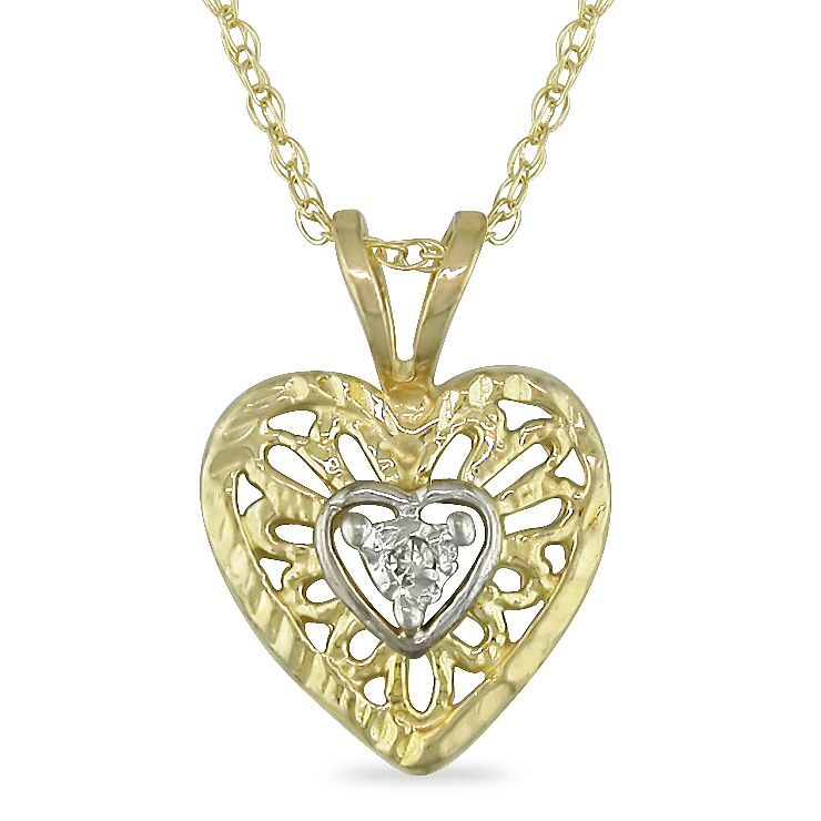 0.01 CT Diamond Heart Pendant With Chain 10k