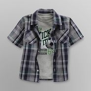 Toughskins Infant & Toddler Boy's Plaid Shirt & Graphic T-Shirt - Soccer at Sears.com