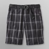 Route 66 Young Men's Belted Walking Shorts - Plaid at mygofer.com