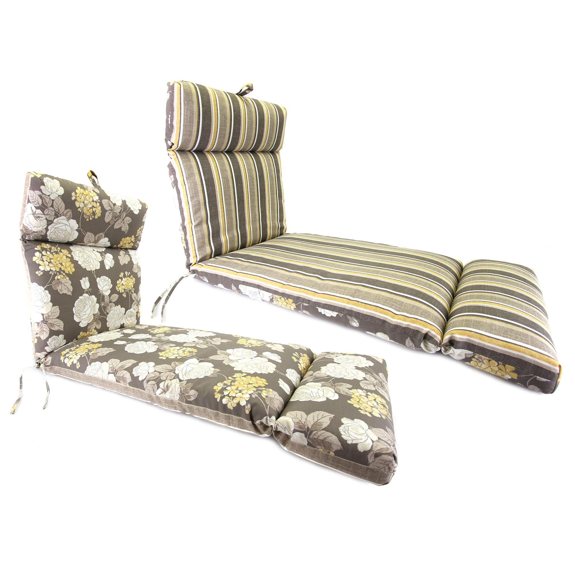 Jordan Manufacturing Co., Inc. Vivienne/Brandy Stripe Putty French Edge Chaise Cushion
