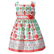 Youngland Infant & Toddler Girls' Dress Polka Dot Shantung Lime/Coral at Sears.com