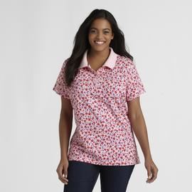 Basic Editions Women's Plus Polo Shirt - Floral at Kmart.com