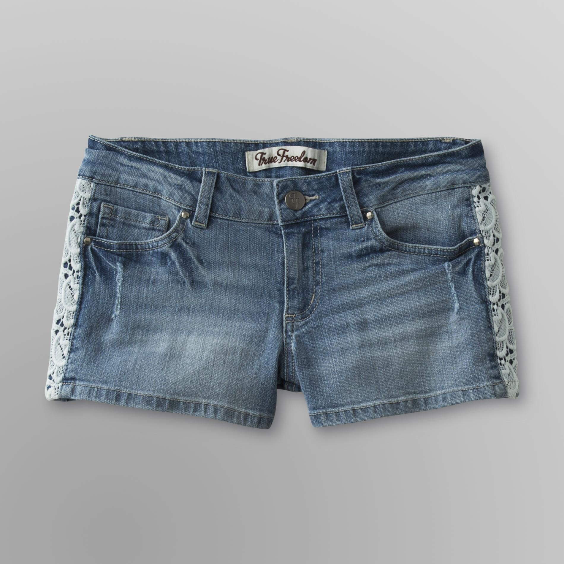 Junior's Lace Trimmed Denim Shorts