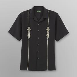 David Taylor Men's Camp Shirt - Vertical Stripe/Scrollwork at Kmart.com