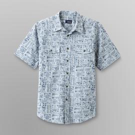 Basic Editions Men's Print Crosshatch Shirt - Tropical Batik at Kmart.com