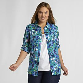 Basic Editions Women's Plus Shirt & Tank Top - Floral at Kmart.com