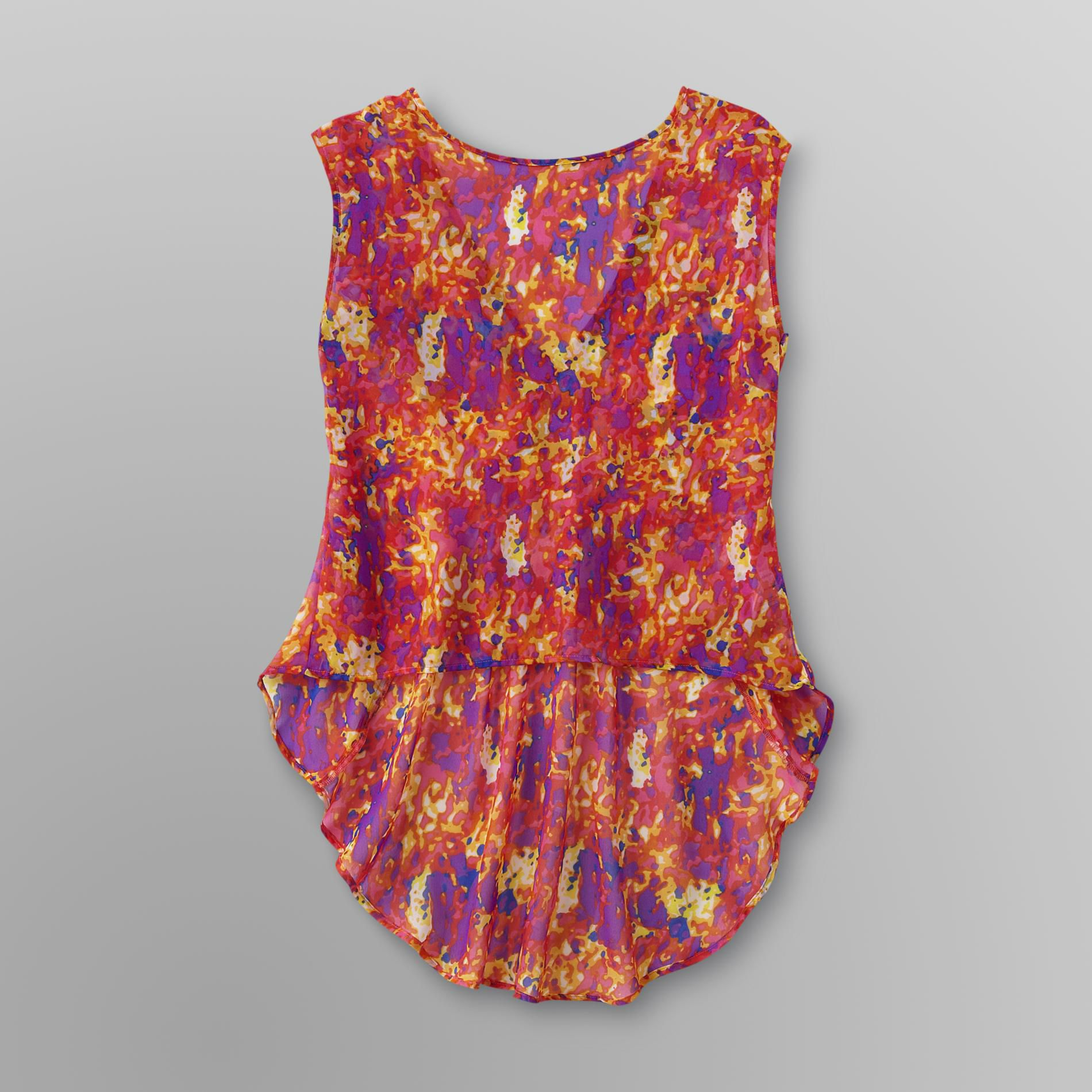 Junior's Sheer Layering Tunic - Floral