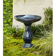 22in Reactive Glaze Ceramic Birdbath - Blue at Kmart.com