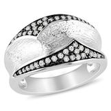 Amour Sterling Silver with Black Rhodium Plating 1/4 CT Diamond Fashion Ring (GH I3) at mygofer.com