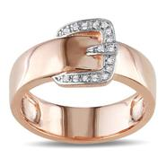 Amour Sterling Silver with Pink Rhodium Plating 0.05 CT Diamond Fashion Ring (GH I2;I3) at Kmart.com